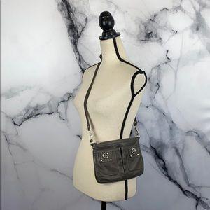 MARC JACOBS gray leather crossbody bag